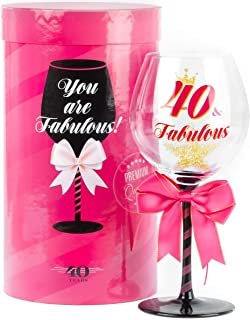 40 and Fabulous Birthday Wine Glass for Women | Fun Gift for Woman Turning Forty Years Old | Mom, Best Friend, Aunt, Sister, Cousin, Co-Worker | Big 23 oz, 8.8 Inch Tall Wine Glass