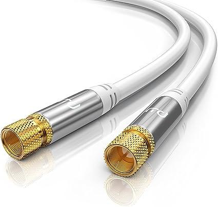 0,5m cable de antena, SAT - Premium cable HDTV, Full HD - cable coaxial - conector F a conector F - carcasa metálica, contactos dorados - blindaje ...