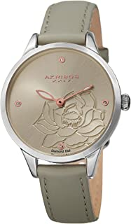 Akribos XXIV Women's Diamond Accented Flower Engraved Dial Grey Leather Strap Watch - Packed in a Beautiful Gift Box - AK1047GY