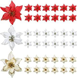 WILLBOND 45 Pieces Christmas Poinsettia Decorations Glitter Artificial Christmas Flowers for Xmas Tree Ornaments, 5 Inch