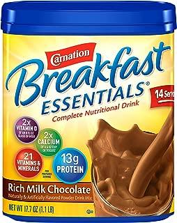Carnation Breakfast Essentials Powder Drink Mix, Rich Milk Chocolate, 17.7 Ounce Jar (Pack of 6)