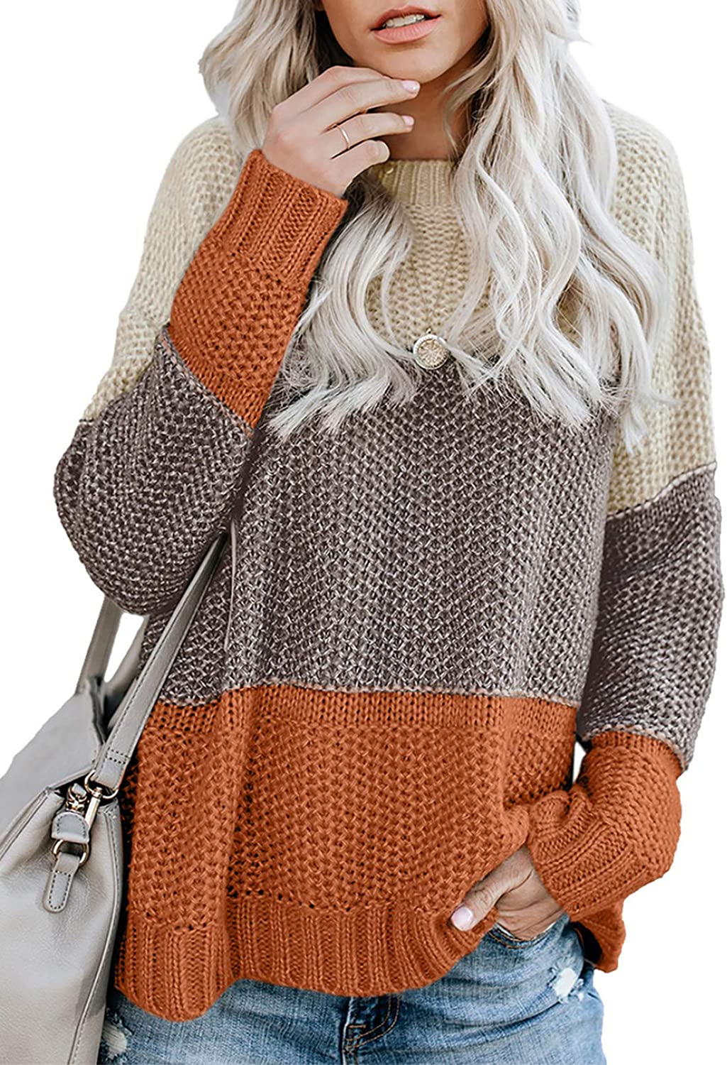 Zecilbo Women's Fashion Color Block Crewneck Pullover Sweaters Long Sleeve Knit Jumper Tops