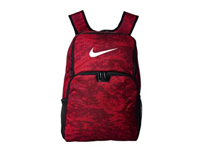 Nike Brasilia All Over Print XL Backpack 9.0 (Team Red/Habanero Red/White) Backpack Bags