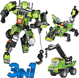Robot STEM Toy Creative Set  3 in 1 Transforming Action Rescue Figures Bots Construction Building Toys for Boys Ages 6-12 Years Old   Best Toy Gift Idea for Kids (Green)