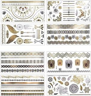 comprar comparacion 8 Hojas Tatuajes Temporales Adultos Dorados y Plateados, AOBETAK Metálico Joyería Falsos Temporale Tatuajes, Etiqueta Engo...