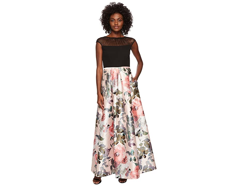 Sangria Illusion Top Ballgown (Black/Peach) Women