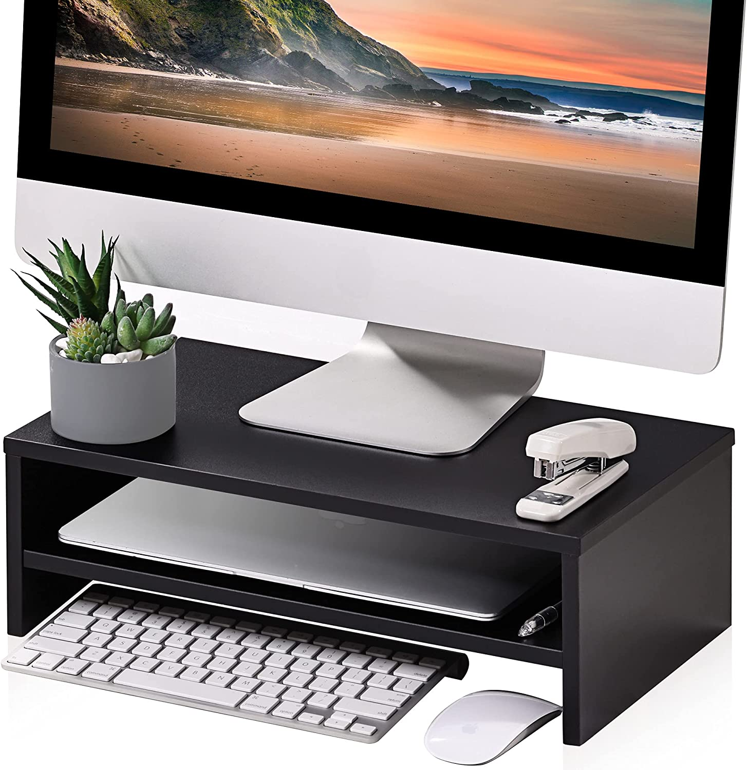 FITUEYES Monitor Stand - 2 Tiers Computer Monitor Riser with 16.7 Inch Shelf, Wood Desktop Stand for Laptop Computer Screen, Desk Organization, Office Supplies, Black, DT204201WB