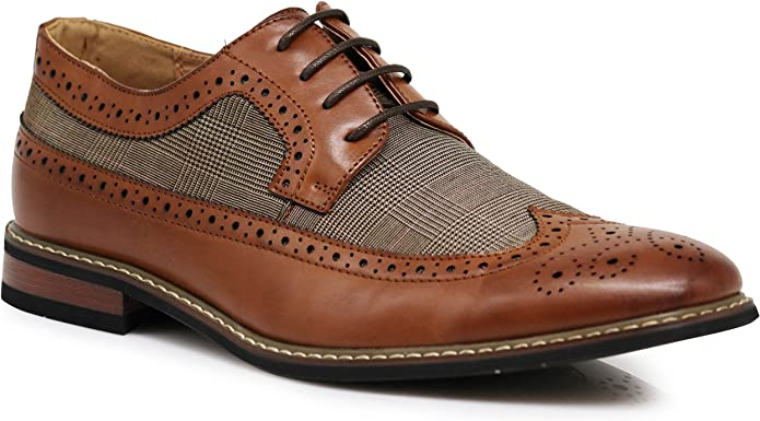 Men's 1950s Shoes Styles- Classics to Saddles to Rockabilly Titan01 Mens Spectator Tweed Plaid Two Tone Wingtips Oxfords Perforated Lace Up Dress Shoes  AT vintagedancer.com