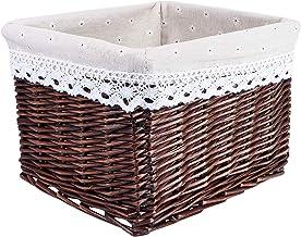 Cabilock Wicker Storage Basket Bins Wicker Cube Storage Baskets Decorative Storage Baskets with Cloth Liners for Sundries ...