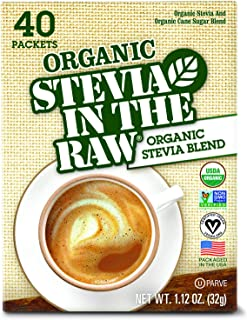 ORGANIC STEVIA IN THE RAW, Zero-Calorie Sweetener Packets 40 Count (6 Pack)