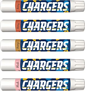 NFL LA Chargers 5-Piece Shimmer Lip Balm Set. 3 Different Shades—Add That Pop of Color: Blush, Bronze, Berry. NFL Gifts for Women, Mother's Day, Easter, Stocking Stuffers, Birthdays