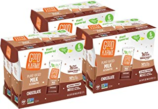 Good Karma Plant-Powered Flaxmilk, Chocolate, 6.75 oz Lunchbox Carton (Pack of 18) Dairy-Free, Plant Based Milk Alternative