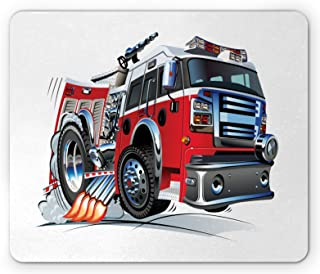 Lunarable Fire Truck Mouse Pad, Cartoon Vehicle with Powerful Engine Riding to Rescue Fire Department Theme, Rectangle No...