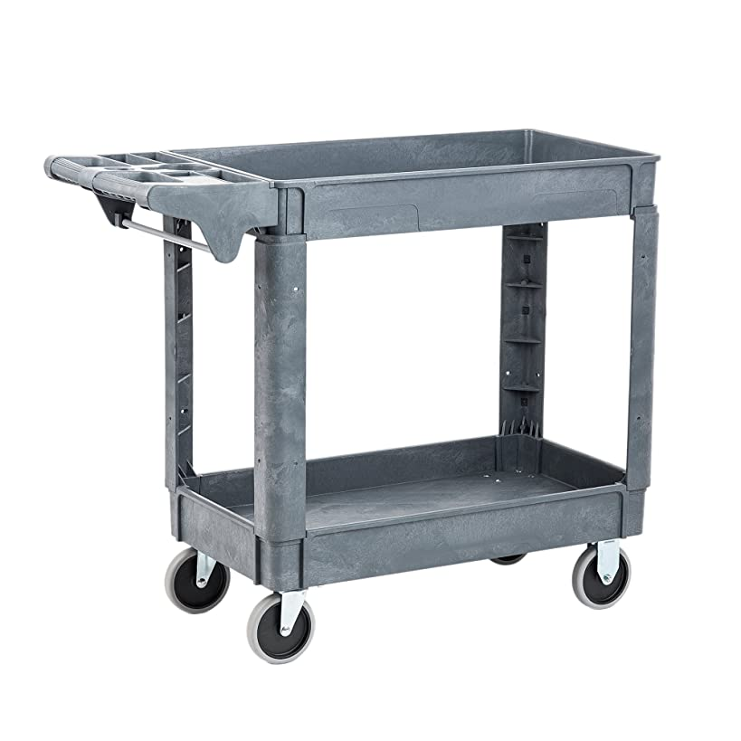 Pearington Utility Rolling Cart- Multi Purpose, Heavy Duty Service Cart; Supplies Storage and Organizer; 2 Tier with Wheels- 500lb Loading Capacity, Gray