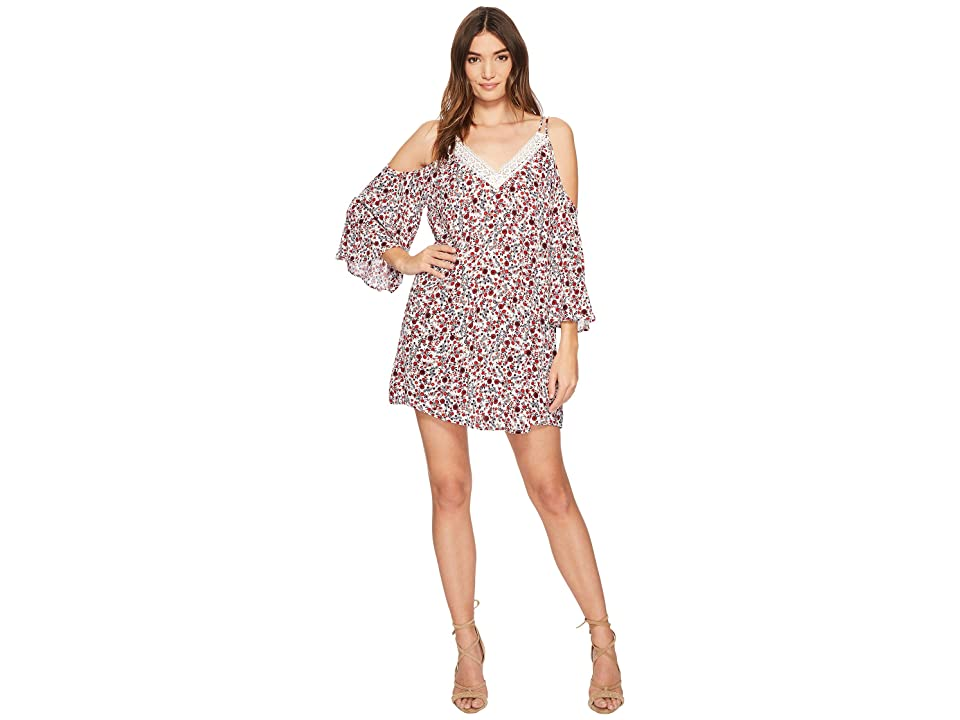 Jack by BB Dakota Keyes Ditzy Blossom Printed Crinkle Rayon Dress (Off-White) Women