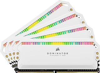 Corsair D3600MHz 32GB 4x8GB DIMM Unbuffered 18-19-19-39 XMP 2.0 Dominator Platinum RGB 1.35V RAM, White