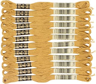 DMC 6-Strand Embroidery Cotton Floss, Medium Old Gold ,Pack of 12