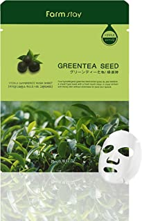 Farmstay Korean Greentea Seed Hydration Facial Mask Sheet(Pack of 10) / Good for Dry and Dull Skin / Good for Soothing and Hydrating