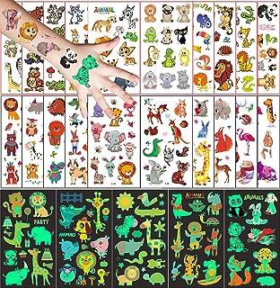 25 Stks Dier Tijdelijke Tatoeages voor Kinderen Set, 20 vel Tekenfilms Tattoo en 5 vel Tatoeages Lichtgevende, Tattoo Stic...