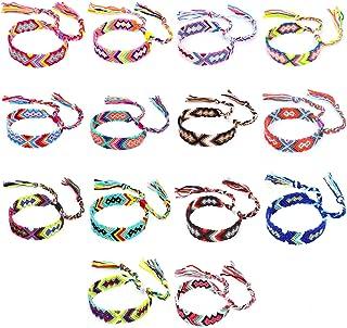 Friendship Bracelets 14 pcs Woven Friendship Bracelets Colorful Braided Bracelets Handmade Colorful Adjustable String Bracelets
