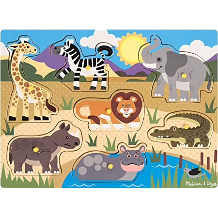 Melissa & Doug Wooden Toy Peg Puzzle - Safari Puzzles Wooden Toy 3+ Gift for Boy or Girl