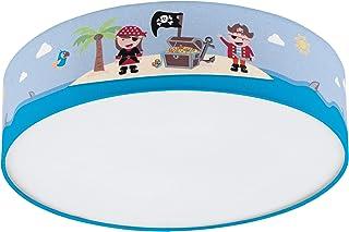Eglo SAN CARLO - Lámpara de techo de tela, diseño de lámpara infantil, decoración para niños y niñas, 2 focos, para habitación infantil, multicolor, lámpara pirata, acero, 40 W, color blanco