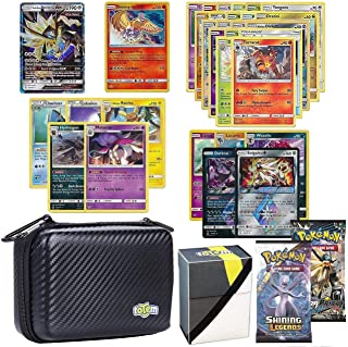 Totem World Pokemon Cards GX Lot with Card Carrying Case, 1 Pokemon GX Card Guaranteed, Plus 1 Pokemon Card Case, 2 Booster Pack, 5 Rares, 5 Holos, 20 Regular Pokemon Cards, and 1 Deck Box - Black