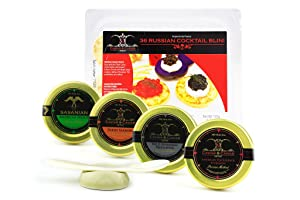 GUARANTEED OVERNIGHT! American Caviar SAMPLER Bowfin, Salmon, Paddlefish, Premium Sturgeon 1oz ea + FREE SPOON & BLINI