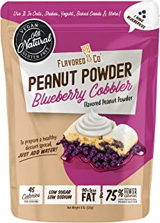 Flavored PB Co. Blueberry Cobbler Peanut Butter Powder, Low Carb and Only 45 Calories, All-Natural from US Farms (8 oz.)