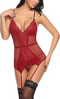 ADOME Women Sexy Lingerie Lace Teddy Babydoll Bustier Set Garter Belts Bodysuit