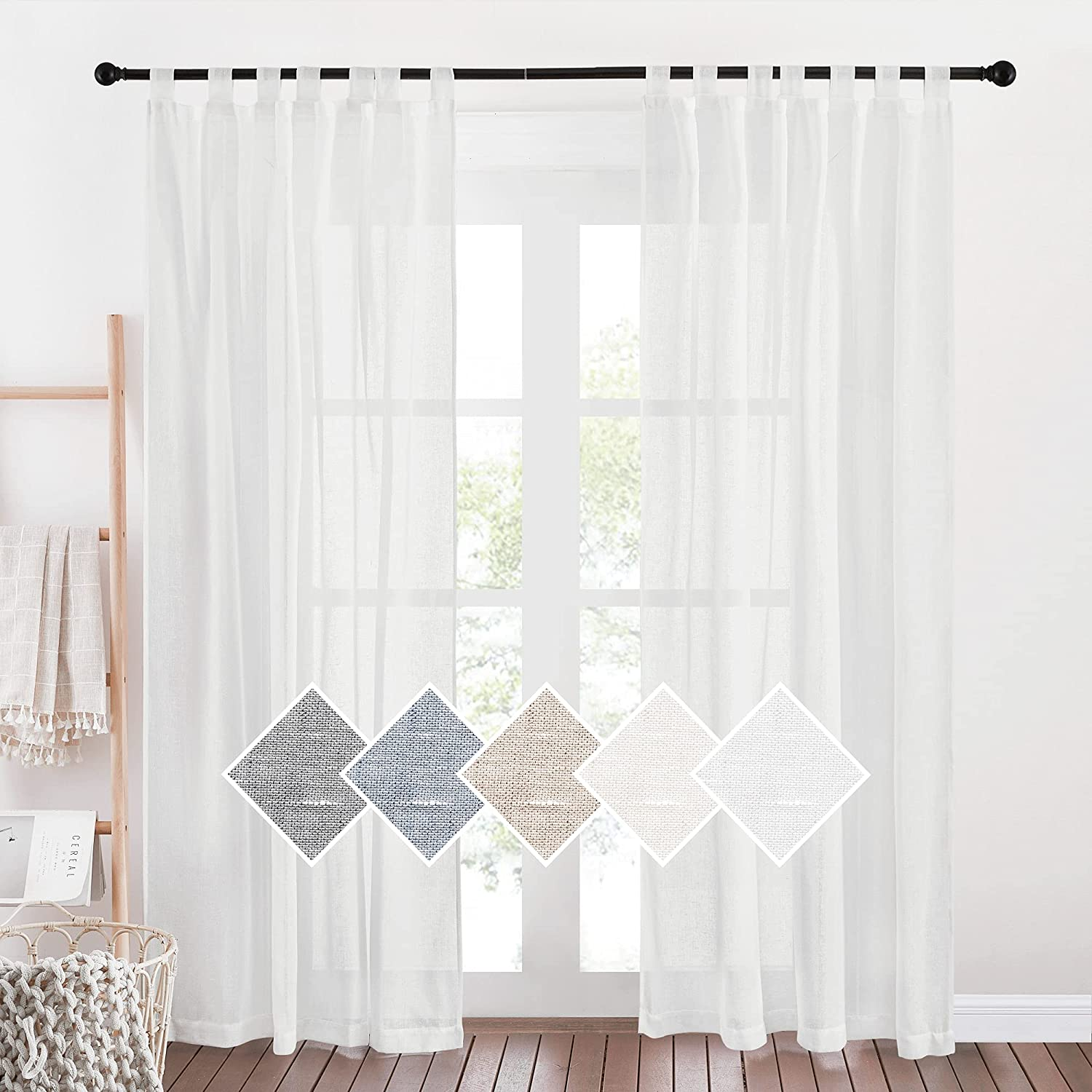 NICETOWN White Linen Max 72% OFF Curtains 84 Same day shipping inch Soft Tab Top Semi Length