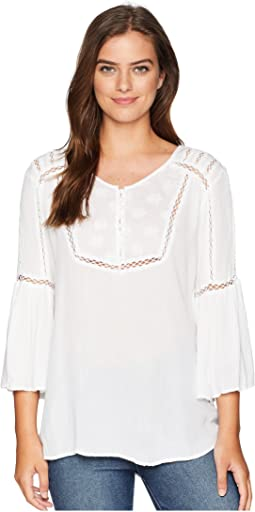 Amber Cotton Crocheted Peasant Style Blouse