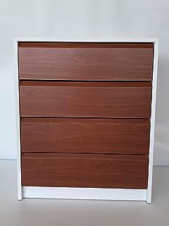 MUEBLECASA - Cajonera montada 4 cajones, madera, 60m Ancho x 45cm Fondo x 72cm Alto, Blanco - Sapelly