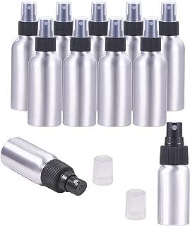 PH PandaHall 10 Pack 4-Ounce (120ml) Aluminum Fine Mist Spray Bottles Platinum Metal Atomizer Bottles for Travel, Storage