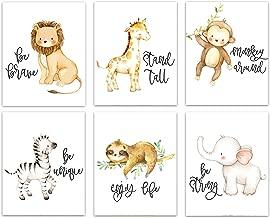 YouNique Designs Safari Animals Nursery Wall Art Prints, Set of 6, UNFRAMED, Elephant and Giraffe Baby Nursery Décor for Girls