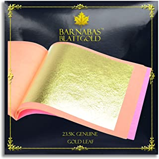 Genuine Gold Leaf Sheets 23.5k - by Barnabas Blattgold - 3.1 inches - 25 Sheets Booklet - Loose Leaf