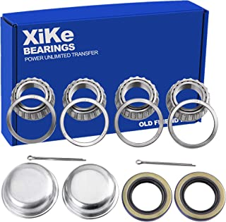 XiKe 2 Set Fits for 1'' Axles Trailer Wheel Hub Bearings Kit, L44643/L44610 and 12192TB Seal OD 1.980'', Dust Cover and Cotter Pin, Rotary Quiet High Speed and Durable.