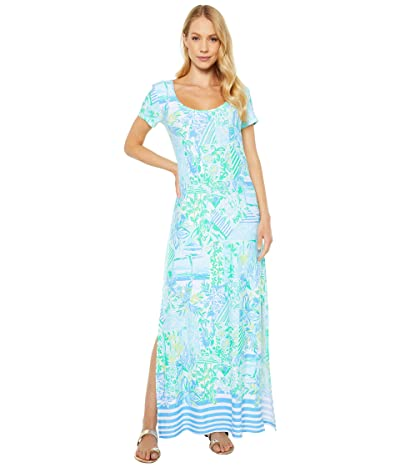 Lilly Pulitzer Wynne Maxi Dress (Whisper Blue Beach Happy Engineered Knit) Women