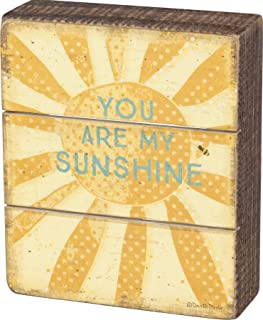 Primitives by Kathy Rustic Slat Wood Box Sign, 5 x 6-Inches, Sunshine