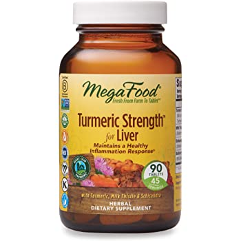 MegaFood, Turmeric Strength for Liver, 90 Tablets, Maintains a Healthy Inflammation Response, Vitamin and Herbal Dietary Supplement Vegan, 45 Servings (FFP)