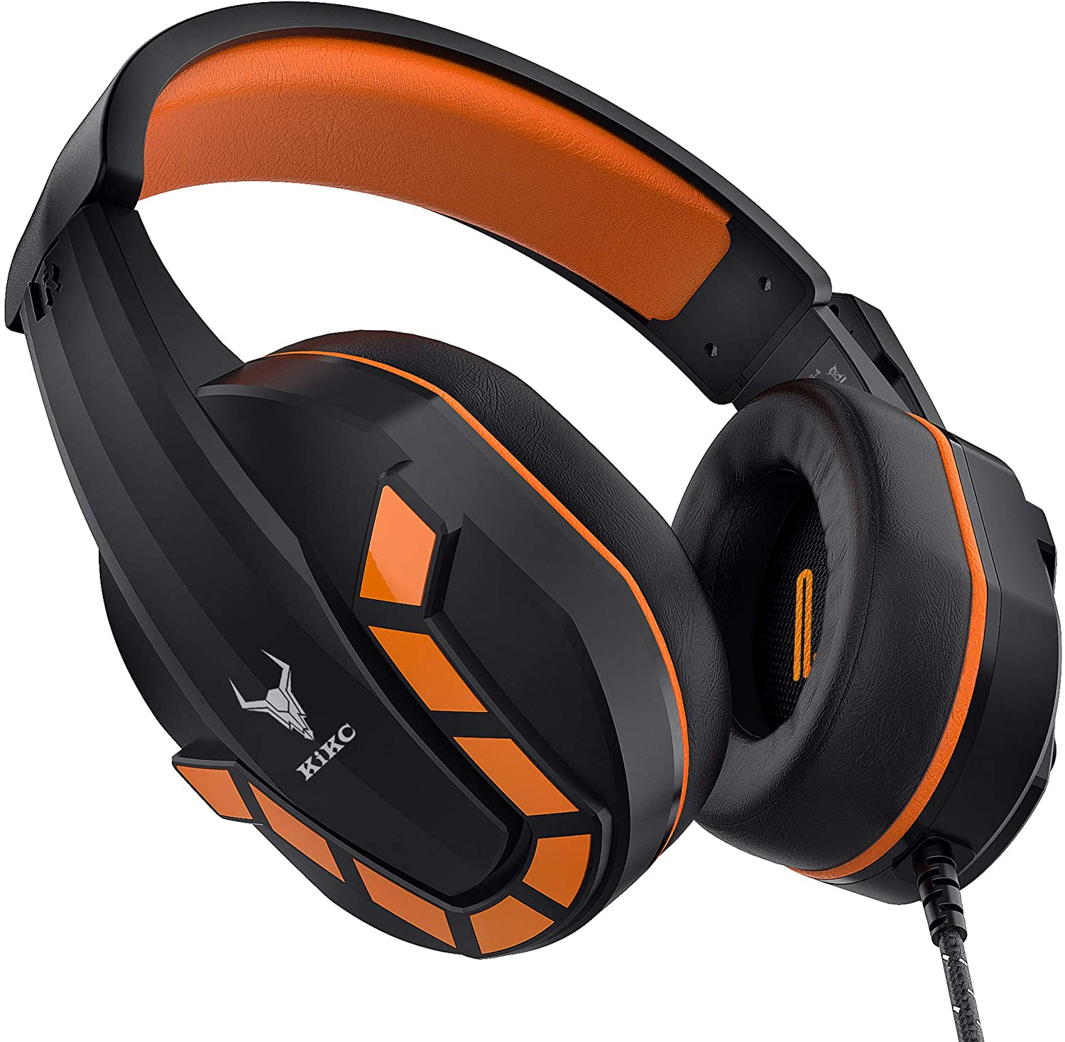Kikc PS4 Gaming Headset with Mic for Xbox One, Nintendo Switch, Mobile Phone, iPad, PC and Notebook, Controllable Volume Gaming Headphones with Soft Earmuffs