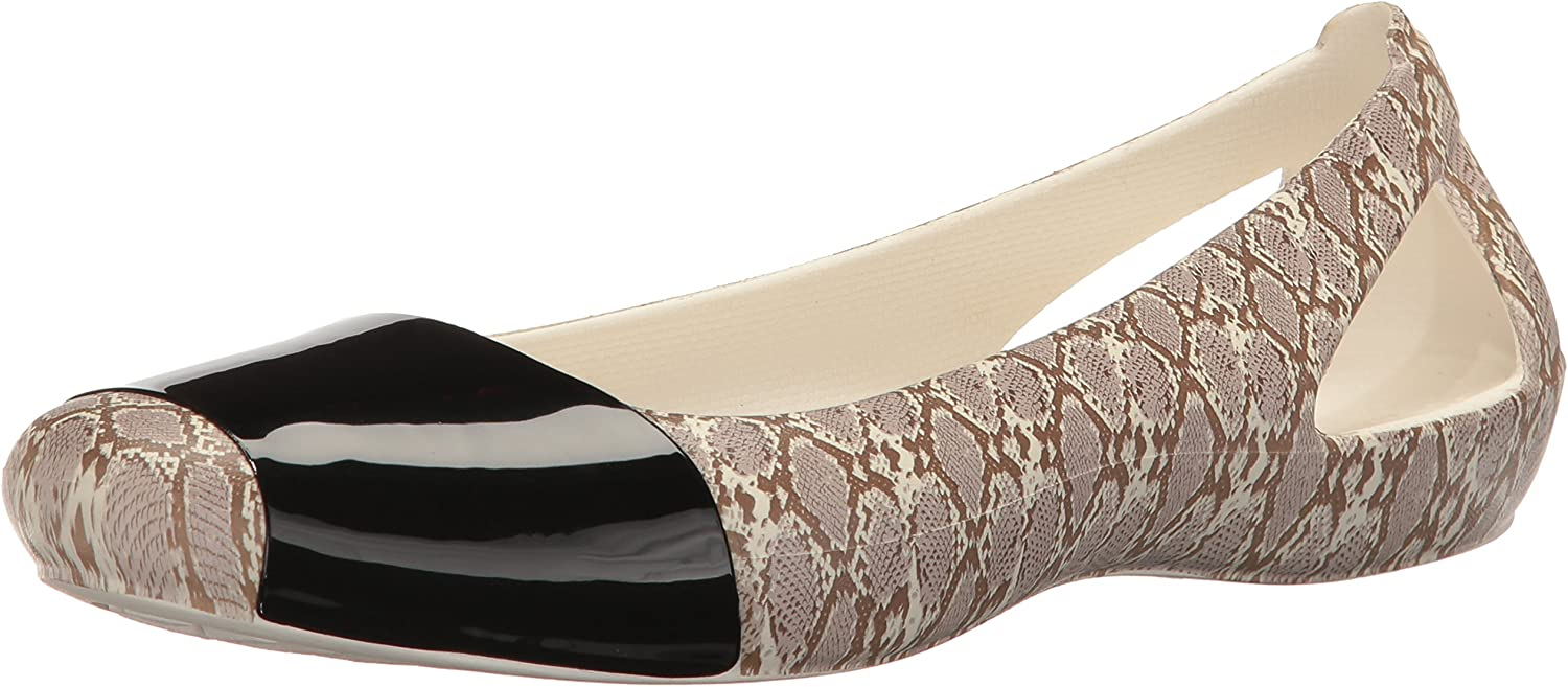 Crocs Women's Crocssienna Shiny Animal Print Flat