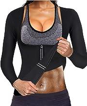 Gotoly Women Waist Trainer Neoprene Shirt Fat Burner Sauna Suit Sweat Weight Loss Fitness Zipper Long Sleeve Slim Arm