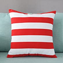 TAOSON Home Decorative Cotton Canvas Square Toss Pillowcase Cushion Cover Stripe Throw Pillow Case with Hidden Zipper Clos...