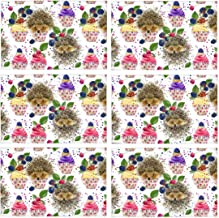 InterestPrint Cute Watercolor Hedgehog And Desserts Berries Cupcakes Polyester Fabric Placemat Plate Mat Holder Set of 6, Washable Heat Insulation Resistant Table Mats Protector 12x18