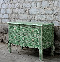 Emerald Green Bone Inlay Chest of Drawers