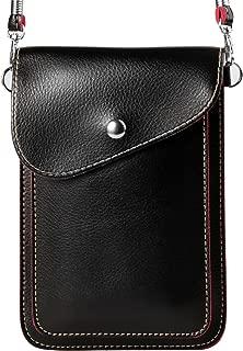 ZZJ Women's PU Leather Wallet Case Purse w/ Shoulder Strap for Apple iPhone 7 Plus / 7 / HTC 10 / One A9s / Huawei Nova 2 Plus / Honor 9 / P10 / P10 Plus / Nokia 5 6 (1 - Black)
