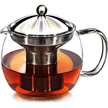 Teapot with Infuser for Loose Tea - 40oz, 3-4 Cup Tea Infuser, Clear Glass Tea Kettle Pot with Strainer & Warmer - Loose Leaf, Iced Tea Maker & Brewer