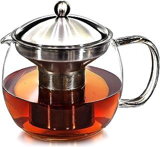 کتری قوری چای با گرمتر - ست گلدان چای و ست ضد چای چای - شیشه های تزئینی ساز چای شیشه ای دارای 3-4 فنجان برگ پشمی برگ گشاد شده یخ زده یا فیلتر چای گلدار- قوری گلدان چای قوری