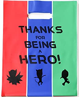 Masks Hero Party Favor Bags, 24 Loot Goody Treat Plastic Birthday Supplies for Toddlers Boys Girls Kids PJ Theme Celebration with Handle